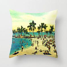 Beach Decor Coastal Pillow, Decorative Pillow, Beach House Pillow, Throw Pillow Cover 18x18 Beach Decor, Palm Trees Pillow, Beach Pillow by VintageBeach on Etsy https://www.etsy.com/listing/164822867/beach-decor-coastal-pillow-decorative