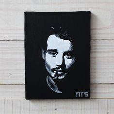 Quadro do ator Johnny Depp fumando, em tecido artístico 100% algodão com pintura em tinta acrílica, tecnica de stencil.  Envernizado para melhor proteção e durabilidade.    #art #stencil #quadro #NTSart #artistic