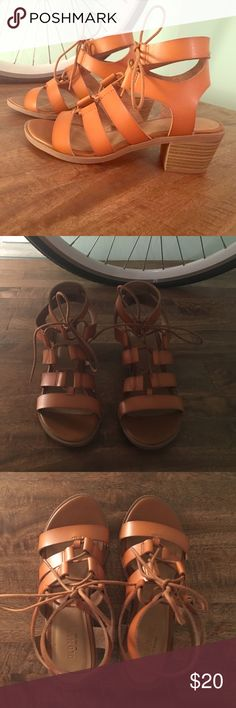 Old Navy Cognac Gladiator Sandals Worn once // great condition // super comfy // cognac color wears great with everything // NOT Zara just doing for exposure // blogger shoe Zara Shoes Sandals