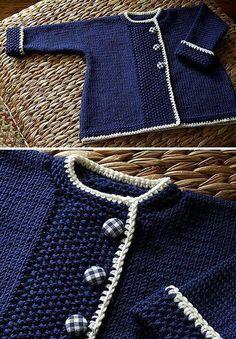 Baby Knitting Patterns We Like Knitting: Sweet Navy Sweater - Free Pattern. Baby Knitting Patterns We Like Knitting: Sweet Navy Sweater - Free Pattern. Baby Sweater Patterns, Baby Cardigan Knitting Pattern, Knit Baby Sweaters, Baby Patterns, Knit Patterns, Girls Sweaters, Baby Knits, Cardigans, Knitting Sweaters