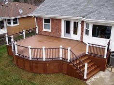 We love the rich colors of this #Trex #deck by TrexPro Platinum Georgetown Decks of Vernon Hills, Ill. Looks like the perfect space for a deck party! Check out their website by clicking on the photo.