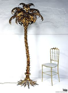 vintage brass palm tree floor lamp