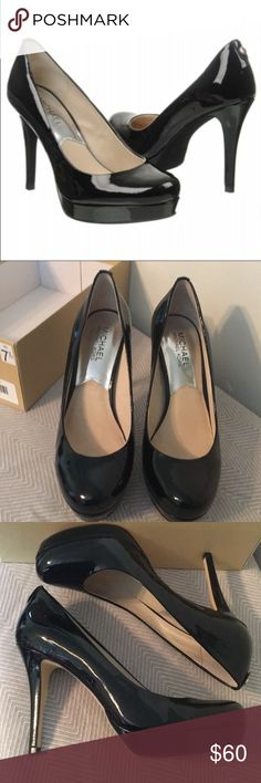 EUC MICHAEL Michael Kors Ionna Pump size 7.5M Worn once, pristine condition. Loved these, but just didn't wear them often enough. My loss is your gain! Beautiful black patent leather. 4 inch heel, .75 platform. Come with original box. 🚫Modeling 🚫Trades 🚫Deals outside of Posh. All items come from smoke free and pet friendly home. Please ask any questions prior to purchasing. Happy Poshing! 😊 Michael Kors Shoes Heels