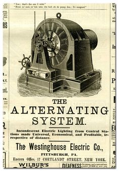 Tesla:  Newspaper Ad for #Tesla's Alternating Current System.