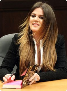 khole Kardashian black to blonde ombre hair color with human hair extensions clip on