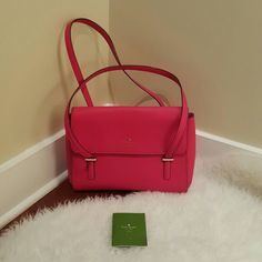Kate Spade Bag Preowned. Fuschia pink. More red color. Good condition. Very clean inside, no stains. Has some small tear at the handle and logo is slightly faded (pls see the in the last photo). Dust bag is missing. Kate Spade Bags Shoulder Bags