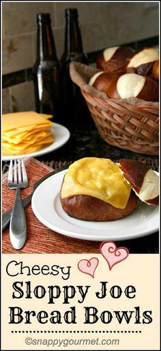 Homemade Cheesy Sloppy Joe Bread Bowls - Quick & easy dinner recipe   snappygourmet.com