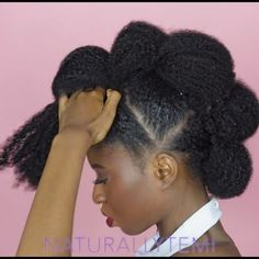 Lovely Will you rock it? Natural Hair Bun Styles, Protective Hairstyles For Natural Hair, Natural Hair Mask, Natural Hair Growth, Long Hair Styles, Black Girls Hairstyles, African Hairstyles, Afro Hairstyles, Pompadour Hairstyle