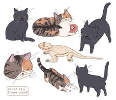 Dog Illustration, Illustrations, Character Design References, Character Art, Animal Doodles, Art Manga, Chibi, Cute Animal Drawings, Cat Drawing