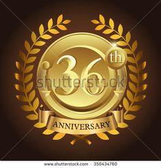 36th golden anniversary wreath ribbon logo - stock vector