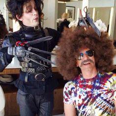 Hairdressers do Halloween. Sal Salcedo and David John of Sally Hershberger Los Angeles. #halloween