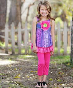 This Blue Floral Ruffle Tunic & Pants - Girls by Freckles + Kitty is perfect! #zulilyfinds