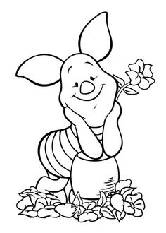 Print me! Disney characters coloring page | Winnie Pooh piglet coloring page