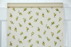 1950's Vintage Wallpaper Yellow Rosebuds on by HannahsTreasures
