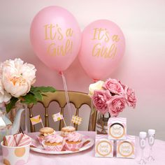 decoration baby shower fille ballons roses it's a girl doré