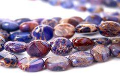 Terra Jasper 8mm puffed oval gemstone Beads  by LifeForceGems