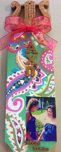 My bigs sorority paddle. Alpha chi omega Vera Bradley themed. So happy I only had to make one! #alphachiomega #paddle #sorority