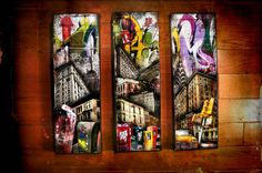 New York Icons and Graffiti - Triptych 4''X12'' - Graffiti  Collage - Mixed media on canvas, $65.00