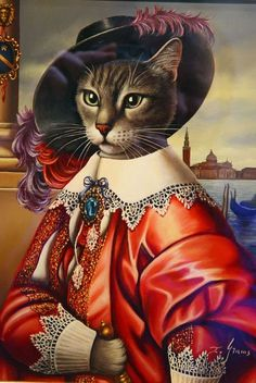 Fancy Cats, Cat People, Cat Costumes, Dog Paintings, Animal Heads, Vintage Cat, Beautiful Cats, Dog Art, Crazy Cats