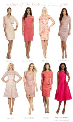 Short Pink Dresses for the Mother of the Bride or Mother of the Groom #mob