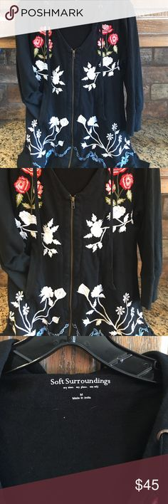 Soft Surroundings Embroidered jacket Sz med jwla Soft Surroundings embroidered jacket. Sz med excellent condition. Cotton  reminds me of Johnny was. Bust 38 length 30 at its longest soft surroundings Tops Sweatshirts & Hoodies