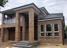 Completed Elyse 36 with #facebrick facade, #stainlesssteelglasspanelbalustrade, #brickpiers, #corbell