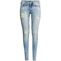 H&M Skinny Low Jeans ($23) ❤ liked on Polyvore featuring jeans, pants, bottoms, light denim blue, blue jeans, slim jeans, super skinny jeans, blue skinny jeans and low jeans