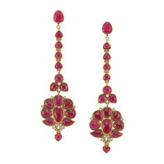 Pair of Indian Gold and Foiled-Back Ruby Pendant-Earrings. photo Doyle New York