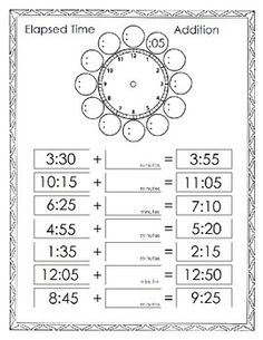 elapsed time addition - Elapsed Time Worksheet