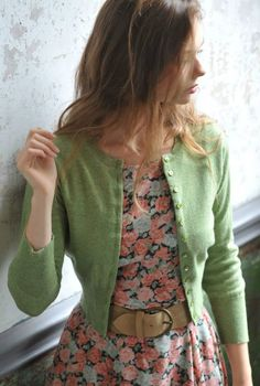 .What I like: Floral dress with simple cardigan, belted waist