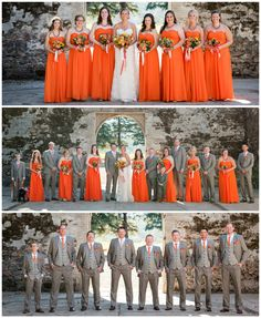Orange bridesmaid dresses and gray groomsmen suits.  First look pictures were taken in the wine ruins at Kunde Winery in Kenwood, CA.  The dresses are from Tulle and Chantilly, and the suits are from Mens Wearhouse.