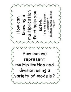 Multiplication and Division Essential Questions (CCSS)~ Free
