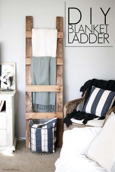 DIY blanket ladder by Cherished Bliss, featured on Funky Junk Interiors