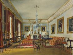 The Duchess of Kent's Large Drawing Room.  This room seems to match the current Drawing Room in size and layout.  Plus, there is a fireplace chimney on the back side of the house.  The drawing room is located over the Dining Room and this is the same exact size with the three windows.  Also, the molding remains there today.   The décor is much more sophisticated than that of Prince Alfred who lived in the Clarence House right after the  Duchess   This is not cluttered, nor a mishmash of…