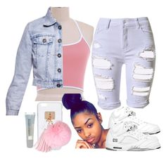"""""""pink"""" by darkroom-1 ❤ liked on Polyvore featuring WithChic, Ashlyn'd, Boohoo, Topshop and Maybelline"""