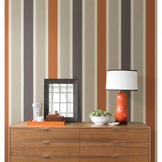 Home wallpaper from Brewster Home Fashions, a manufacturer and distributor of fine wallpaper, wallcoverings, and home décor products. Wall Painting Decor, Tree Wall Decor, Nursery Wall Decor, Bedroom Wall, Bedroom Orange, Orange Walls, Grey Feature Wall, Striped Accent Walls, Striped Wallpaper