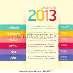 Calendar 2013 Modern Soft Color,Vector - 120510772 : Shutterstock