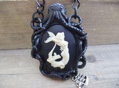 Siren of the Turbulent Sea - Nude Mermaid Cameo Octopus and Nautical Necklace