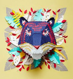 French Artist Creates Beautifully Intricate Paper Masks of Animal Faces French artist Mlle Hipolyte's colorful paper masks feature intricate, origami-like designs to Paper Cutting, Paper Animals, Animal Masks, Masks Art, Illustration, Flyer, 3d Paper, French Artists, Clipart