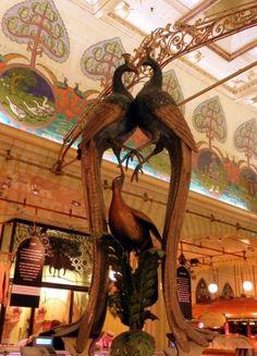 Peacock sculptures in the Harrods Food Halls
