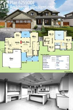 Architectural Designs House Plan 62550DJ looks great outside. And in!   The home gives you 4 beds, 3.5 baths and over 2,900 square feet of heated living space. Ready when you are. Where do YOU want to build?