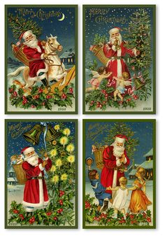 Santa Quilt Block Set 29. A set of 4 high-quality quilt blocks of vintage images from the early 1900s. These Old World Santas are printed on 100% Cotton Sateen and are Ready-To-Sew out of the package. This set includes a free pattern to make a wall hanging. This set is available for sale on Etsy or our web site at http://www.oldeamericaantiques.com/catalog/index.php.