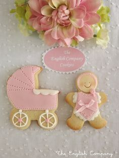 Bebés decorated cookies pink baby gingy