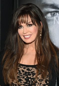 Marie Osmond Long Wavy Cut with Bangs - Marie Osmond sported barely-there waves and wispy bangs at the premiere of 'Jason Bourne.'