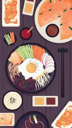 Stunning digital art illustration of various korean foods by artist Adrianne Wal. Food Wallpaper, Graphic Wallpaper, Kawaii Wallpaper, Aesthetic Iphone Wallpaper, Korean Illustration, Digital Illustration, Simple Illustration, Fantasy Illustration, Pineapple Wallpaper
