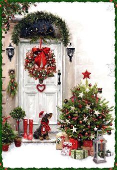 White Door at Christmas / Porta bianca a Natale - by Jonny Javelin Card Company Christmas Scenery, Christmas Mood, Christmas Pictures, Country Christmas, Christmas Wreaths, Christmas Crafts, Christmas Decorations, Xmas, Holiday Decor
