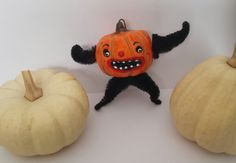 Vintage Style Halloween Folk Art Pumpkin Man by seasonsart1031