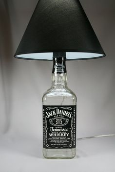 Jack Daniels Bottle lamp (projects, crafts, DIY, do it yourself, interior design, home decor, fun, creative, uses, use, ideas, inspiration, 3R's, reduce, reuse, recycle, used, upcycle, repurpose, handmade, homemade)