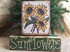 Primitive Country Sunflowers 2 pc Summer Stacking Shelf Sitter Wood Block Set #PrimtiiveCountry
