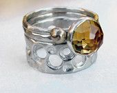 Silver Citrine Ring Stack Set Honeycomb Gold Bee Ring